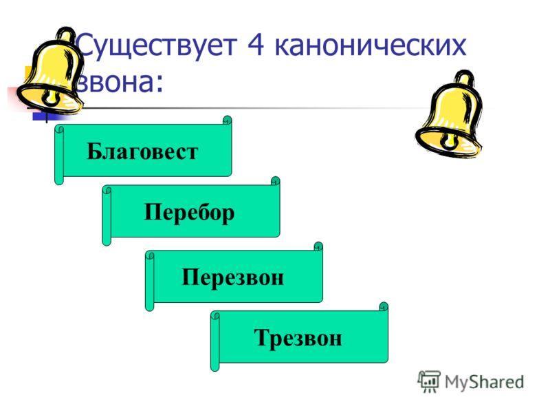 Существует 4 канонических звона: Благовест Перебор Перезвон Трезвон