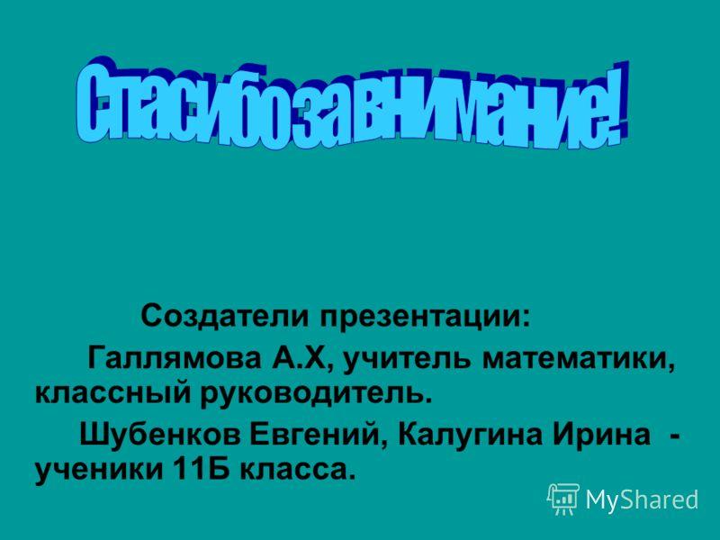 Создатели презентации: Галлямова А.Х, учитель математики, классный руководитель. Шубенков Евгений, Калугина Ирина - ученики 11Б класса.