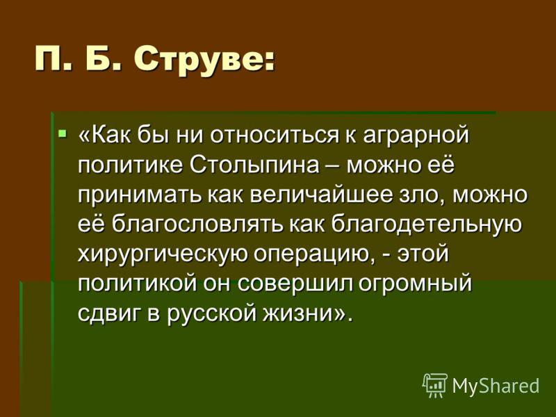 П. Б. Струве: «Как бы ни относиться к аграрной политике Столыпина – можно её принимать как величайшее зло, можно её благословлять как благодетельную хирургическую операцию, - этой политикой он совершил огромный сдвиг в русской жизни». «Как бы ни отно