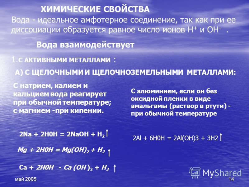 май 200514 ХИМИЧЕСКИЕ СВОЙСТВА Вода - идеальное амфотерное соединение, так как при ее диссоциации образуется равное число ионов Н + и ОН -. Вода взаимодействует 1. С АКТИВНЫМИ МЕТАЛЛАМИ : А) С ЩЕЛОЧНЫМИ И ЩЕЛОЧНОЗЕМЕЛЬНЫМИ МЕТАЛЛАМИ: С натрием, калие
