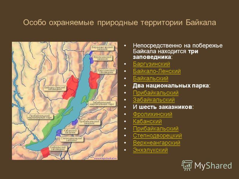 Особо охраняемые природные территории Байкала Непосредственно на побережье Байкала находится три заповедника: Баргузинский Байкало-Ленский Байкальский Два национальных парка: Прибайкальский Забайкальский И шесть заказников: Фролихинский Кабанский При