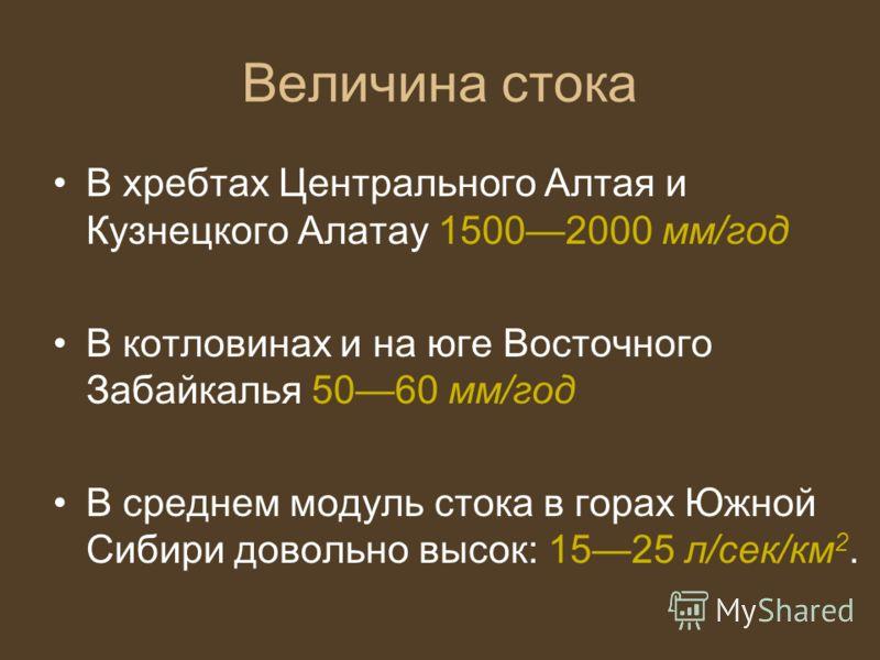 Величина стока В хребтах Центрального Алтая и Кузнецкого Алатау 15002000 мм/год В котловинах и на юге Восточного Забайкалья 5060 мм/год В среднем модуль стока в горах Южной Сибири довольно высок: 1525 л/сек/км 2.