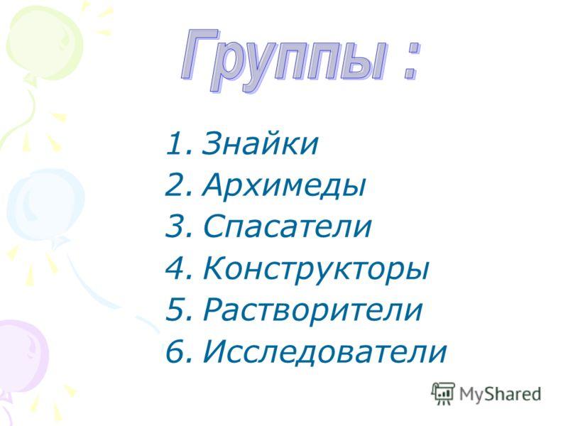 1.Знайки 2.Архимеды 3.Спасатели 4.Конструкторы 5.Растворители 6.Исследователи