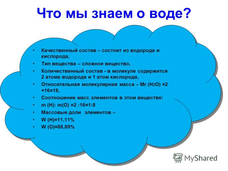 Что мы знаем о воде? Капля. Качественный состав – состоит из водорода и кислорода, Тип вещества – сложное вещество, Количественный состав - в молекуле содержится 2 атома водорода и 1 атом кислорода, Относительная молекулярная масса – Мr (Н 2 О) =2 +1
