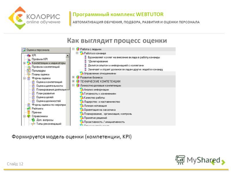 Программный комплекс WEBTUTOR АВТОМАТИЗАЦИЯ ОБУЧЕНИЯ, ПОДБОРА, РАЗВИТИЯ И ОЦЕНКИ ПЕРСОНАЛА Слайд 12 Как выглядит процесс оценки Формируется модель оценки (компетенции, KPI)