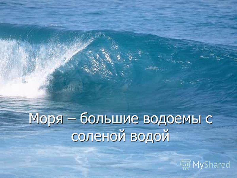 Моря – большие водоемы с соленой водой