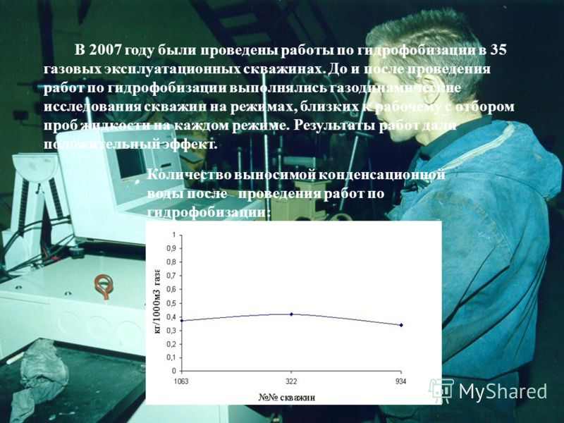 В 2007 году были проведены работы по гидрофобизации в 35 газовых эксплуатационных скважинах. До и после проведения работ по гидрофобизации выполнялись газодинамические исследования скважин на режимах, близких к рабочему с отбором проб жидкости на каж