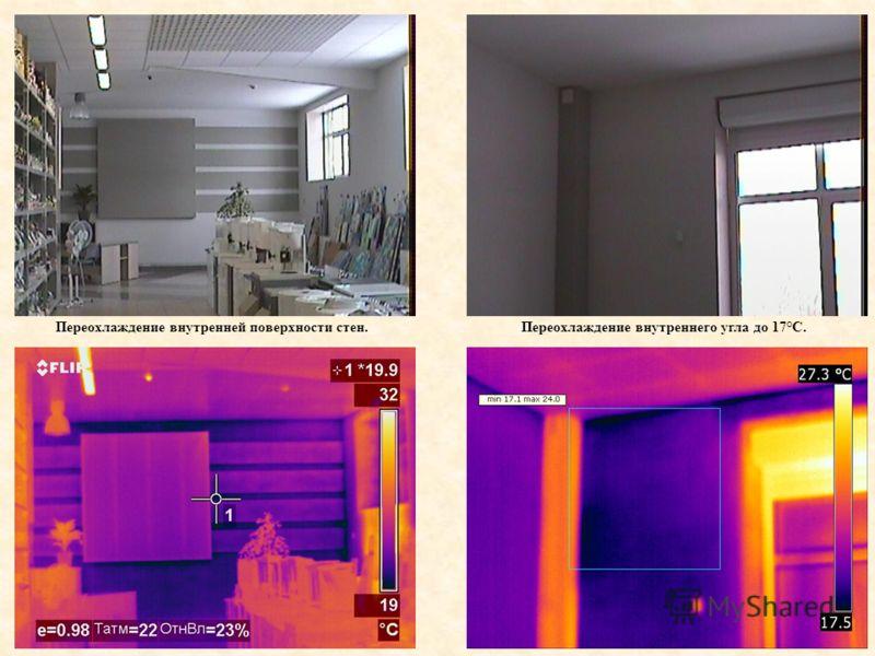 Переохлаждение внутренней поверхности стен.Переохлаждение внутреннего угла до 17°С.