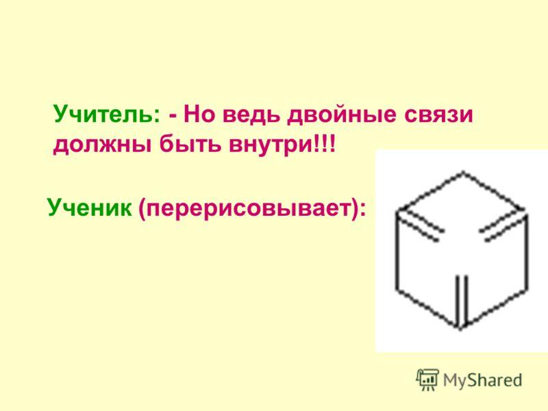 Учитель: - Но ведь двойные связи должны быть внутри!!! Ученик (перерисовывает):