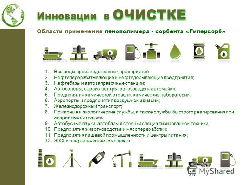 1.Все виды производственных предприятий; 2.Нефтеперерабатывающие и нефтедобывающие предприятия; 3.Нефтебазы и автозаправочные станции; 4.Автосалоны, сервис-центры, автозаводы и автомойки; 5.Предприятия химической отрасли, химические лаборатории, 6.Аэ