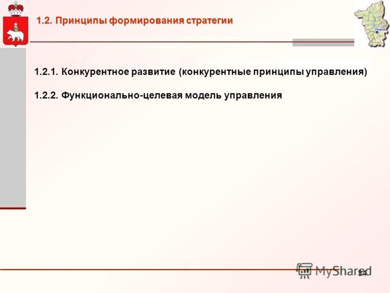 34 1.2.1. Конкурентное развитие (конкурентные принципы управления) 1.2.2. Функционально-целевая модель управления 1.2. Принципы формирования стратегии