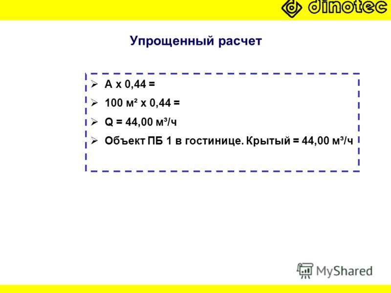 Упрощенный расчет A x 0,44 = 100 м² x 0,44 = Q = 44,00 м³/ч Объект ПБ 1 в гостинице. Крытый = 44,00 м³/ч