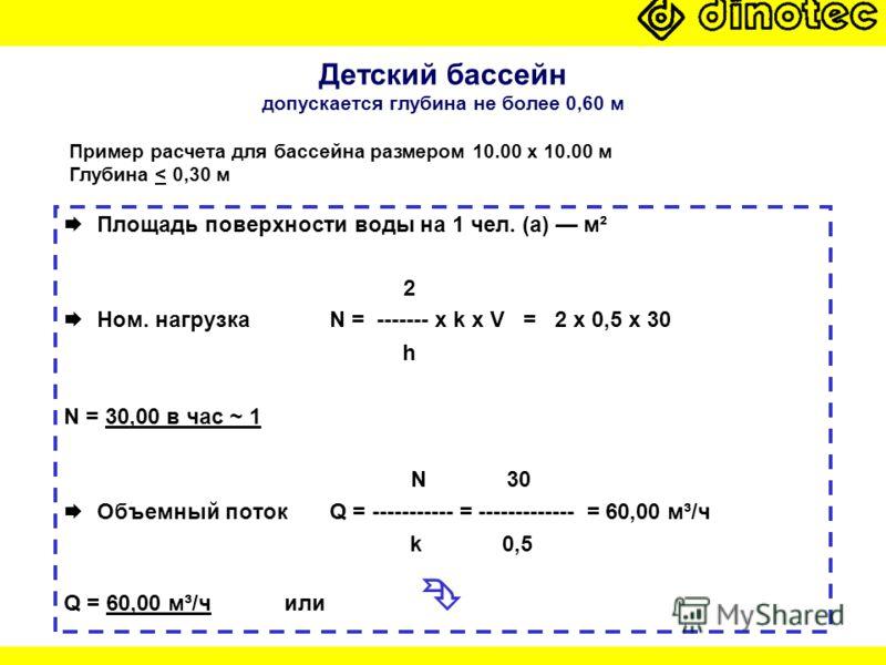 Детский бассейн допускается глубина не более 0,60 м Площадь поверхности воды на 1 чел. (a) м² 2 Ном. нагрузка N = ------- x k x V = 2 x 0,5 x 30 h N = 30,00 в час ~ 1 N 30 Объемный потокQ = ----------- = ------------- = 60,00 м³/ч k 0,5 Q = 60,00 м³/
