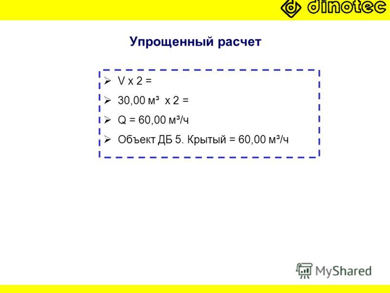 Упрощенный расчет V x 2 = 30,00 м³ x 2 = Q = 60,00 м³/ч Объект ДБ 5. Крытый = 60,00 м³/ч