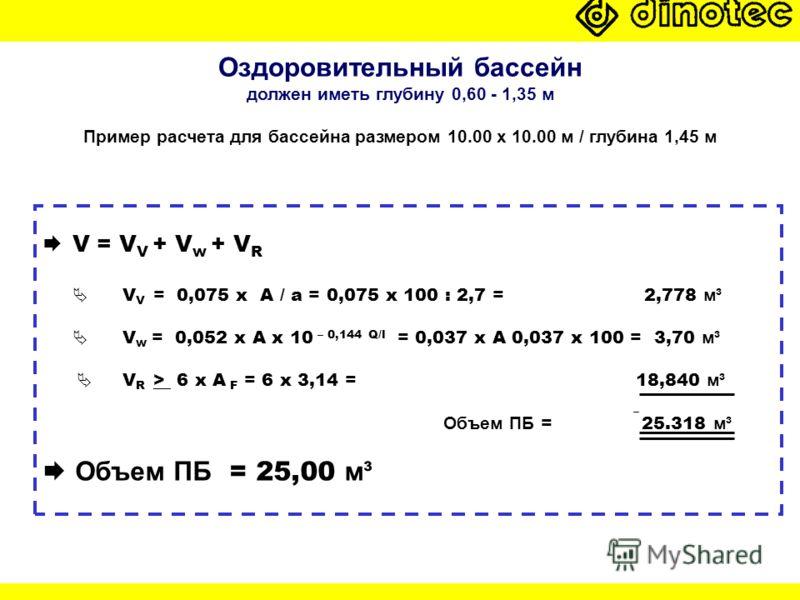 Оздоровительный бассейн должен иметь глубину 0,60 - 1,35 м Пример расчета для бассейна размером 10.00 x 10.00 м / глубина 1,45 м V = V V + V w + V R V V = 0,075 x A / a = 0,075 x 100 : 2,7 = 2,778 м³ V w = 0,052 x A x 10 – 0,144 Q/l = 0,037 x A 0,037
