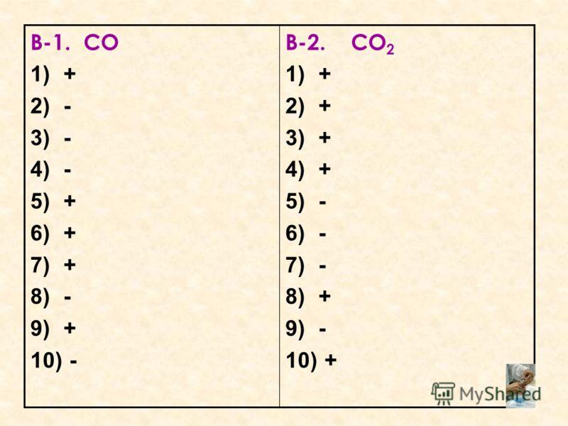 В-1. СО 1)+ 2)- 3)- 4)- 5)+ 6)+ 7)+ 8)- 9)+ 10) - В-2. СО 2 1)+ 2)+ 3)+ 4)+ 5)- 6)- 7)- 8)+ 9)- 10) +