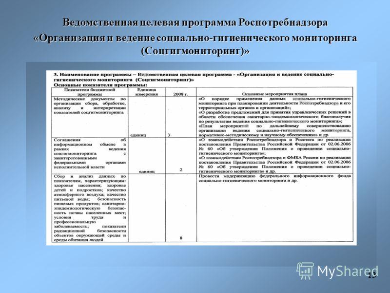 Ведомственная целевая программа Роспотребнадзора «Организация и ведение социально-гигиенического мониторинга (Соцгигмониторинг)» 13