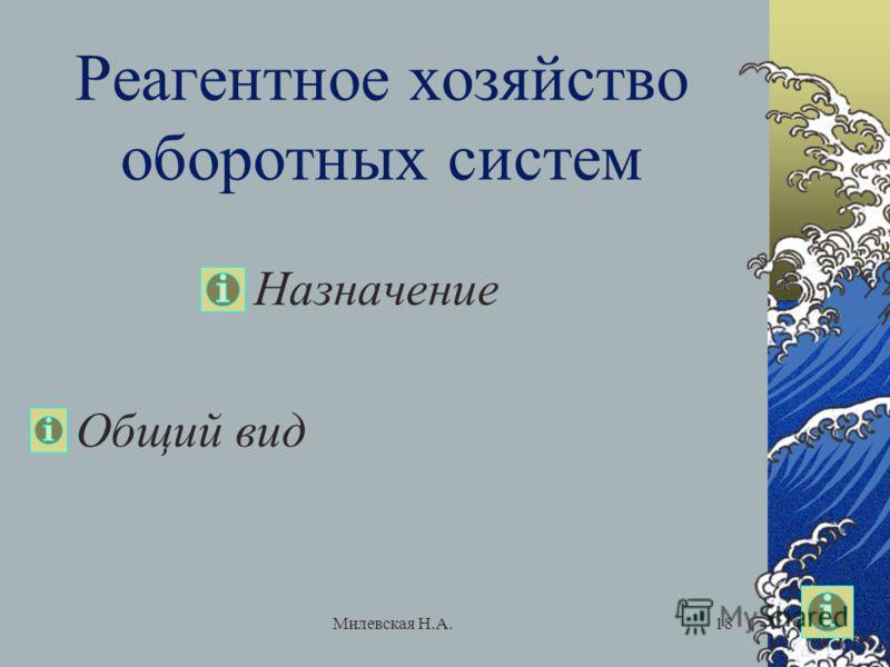 Милевская Н.А.18 Реагентное хозяйство оборотных систем Назначение Общий вид