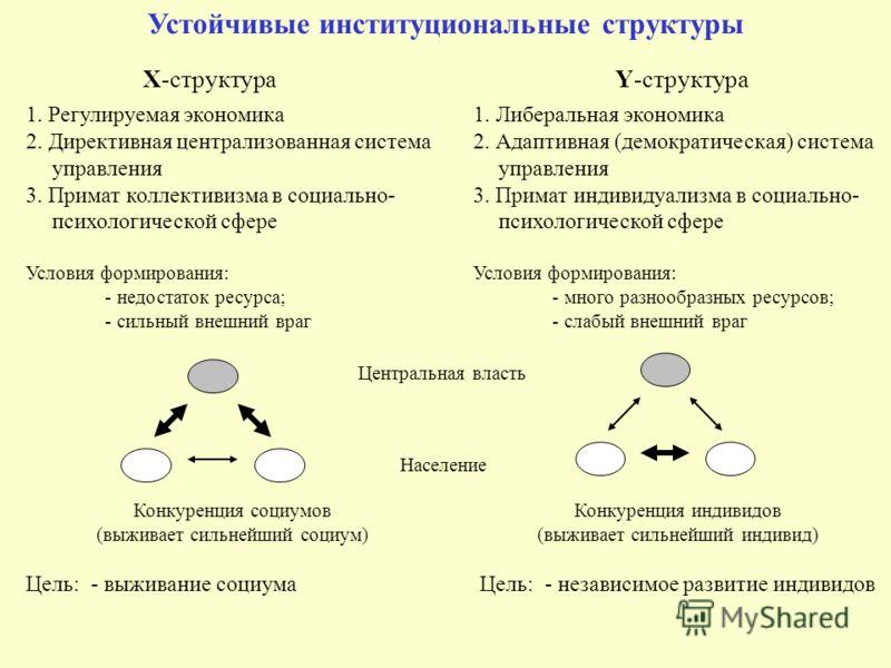 Устойчивые институциональные структуры X-структура Y-структура 1. Регулируемая экономика 2. Директивная централизованная система управления 3. Примат коллективизма в социально- психологической сфере Условия формирования: - недостаток ресурса; - сильн