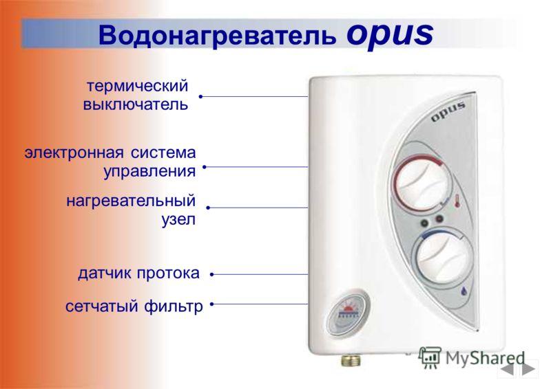 Регулировка температуры Регулировка величины протока Панель настроек opus