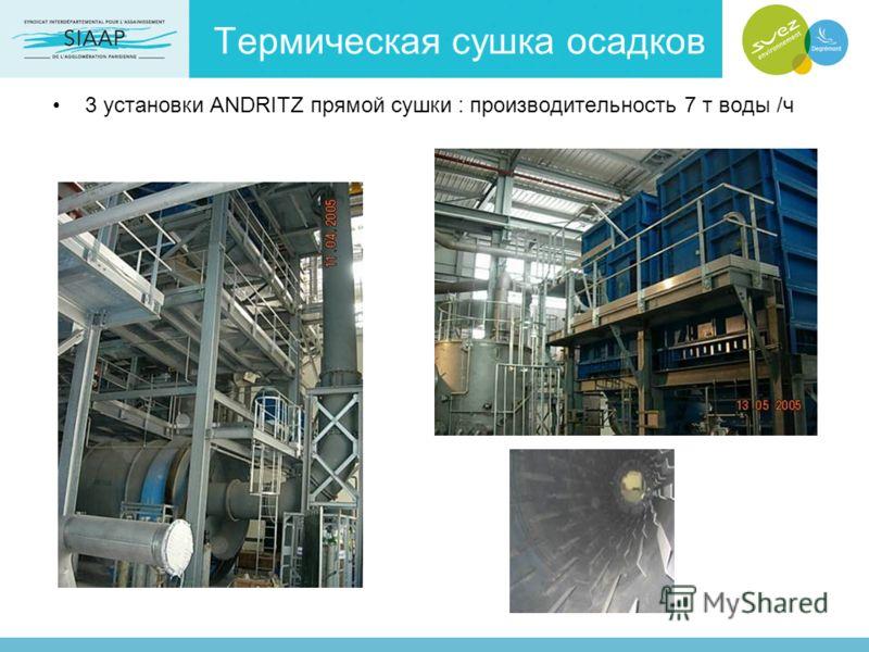 Термическая сушка осадков 3 установки ANDRITZ прямой сушки : производительность 7 т воды /ч