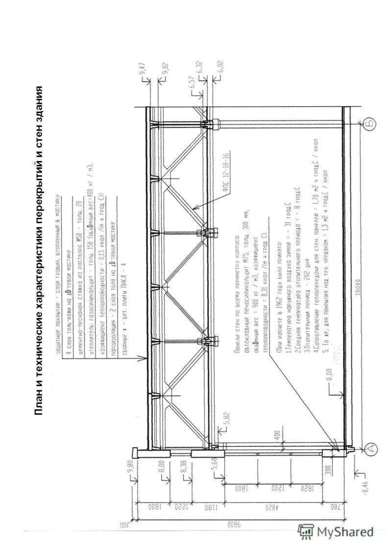 План и технические характеристики перекрытий и стен здания