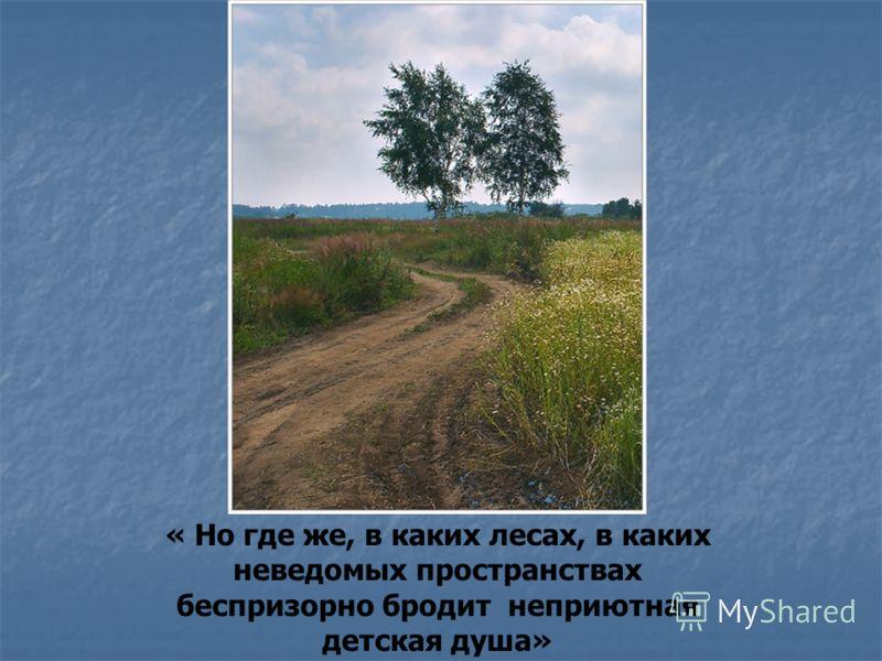 « Но где же, в каких лесах, в каких неведомых пространствах беспризорно бродит неприютная детская душа»
