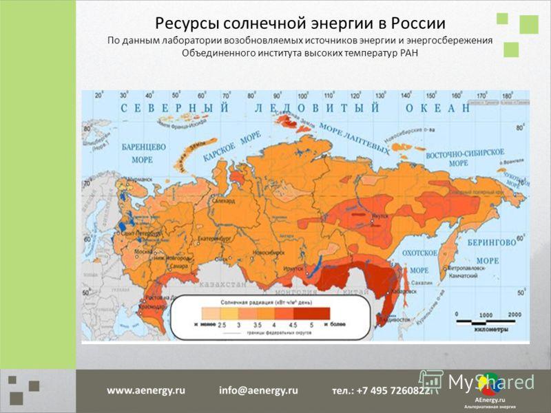 Ресурсы солнечной энергии в России По данным лаборатории возобновляемых источников энергии и энергосбережения Объединенного института высоких температур РАН