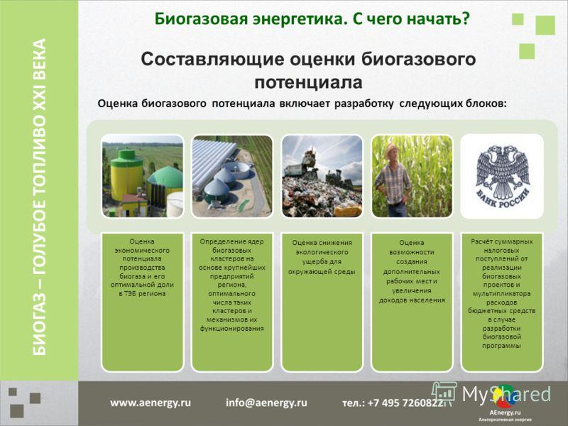 Составляющие оценки биогазового потенциала Оценка биогазового потенциала включает разработку следующих блоков: Оценка экономического потенциала производства биогаза и его оптимальной доли в ТЭБ региона Определение ядер биогазовых кластеров на основе
