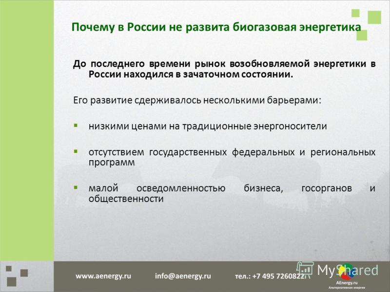До последнего времени рынок возобновляемой энергетики в России находился в зачаточном состоянии. Его развитие сдерживалось несколькими барьерами: низкими ценами на традиционные энергоносители отсутствием государственных федеральных и региональных про