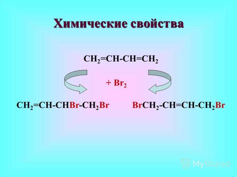 Химические свойства СН 2 =СН-СН=СН 2 + Вr 2 СН 2 =СН-СНВr-СН 2 ВrВrСН 2 -СН=СН-СН 2 Вr