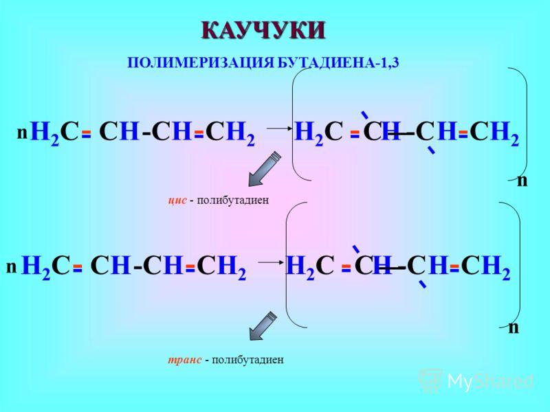 -СH-СHСHСHН2СН2С СH 2 - С -С-С -- Н2СН2С - HH ---- - - n -СH-СHСHСHН2СН2С - С -С-С -- Н2СН2С - HH ---- - - n цис - полибутадиен транс - полибутадиен КАУЧУКИ ПОЛИМЕРИЗАЦИЯ БУТАДИЕНА-1,3 n n