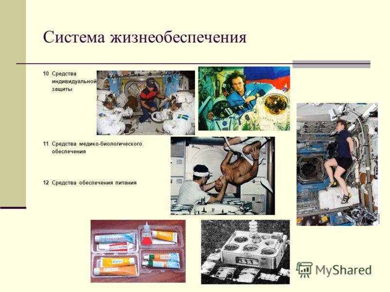 Система жизнеобеспечения 10 Средства индивидуальной защиты 11 Средства медико-биологического обеспечения 12 Средства обеспечения питания