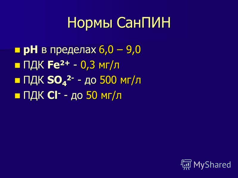 Нормы СанПИН рН в пределах 6,0 – 9,0 рН в пределах 6,0 – 9,0 ПДК Fe 2+ - 0,3 мг/л ПДК Fe 2+ - 0,3 мг/л ПДК SO 4 2- - до 500 мг/л ПДК SO 4 2- - до 500 мг/л ПДК Cl - - до 50 мг/л ПДК Cl - - до 50 мг/л