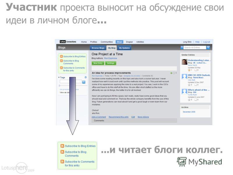Участник проекта выносит на обсуждение свои идеи в личном блоге......и читает блоги коллег.