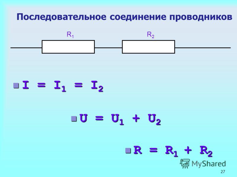 27 Последовательное соединение проводников I = I 1 = I 2 I = I 1 = I 2 R1R1 R2R2 R = R 1 + R 2 R = R 1 + R 2 U = U 1 + U 2 U = U 1 + U 2