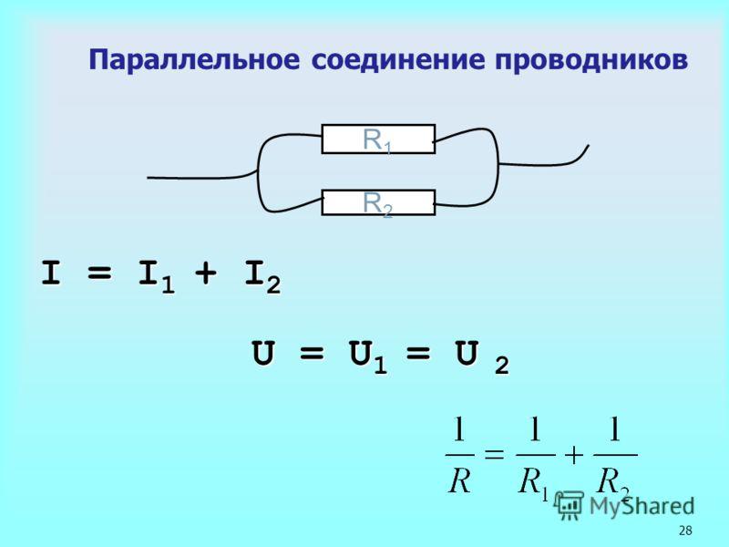 28 Параллельное соединение проводников I = I 1 + I 2 R1R1 R2R2 U = U 1 = U 2