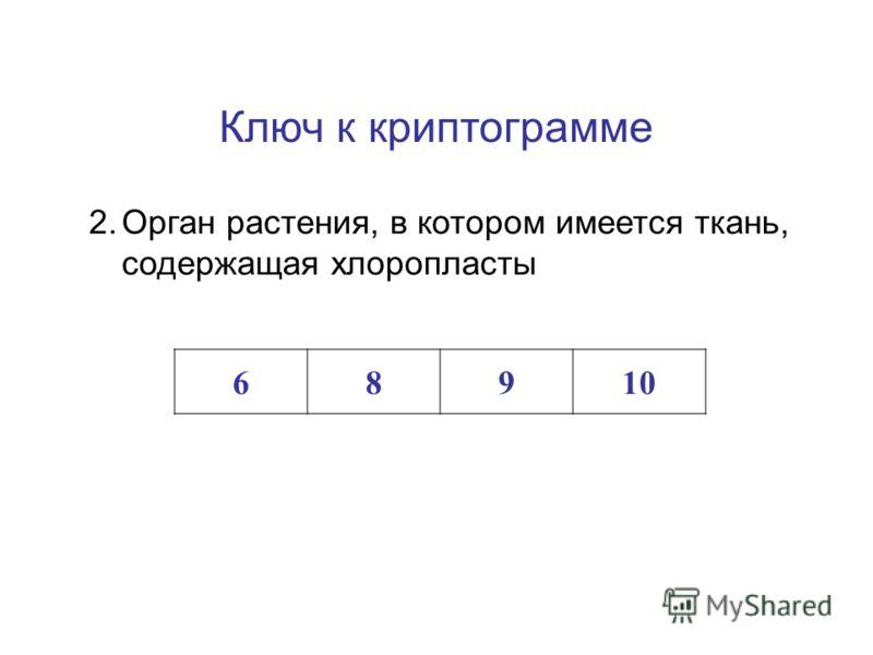 Ключ к криптограмме 1.Полость в клетке, заполненная клеточным соком 1234567