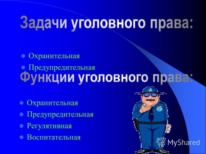 Охранительная Предупредительная Регулятивная Воспитательная Охранительная Предупредительная