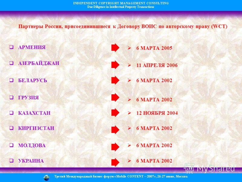 Партнеры России, присоединившиеся к Договору ВОИС по авторскому праву (WCT) АРМЕНИЯ 6 МАРТА 2005 АЗЕРБАЙДЖАН 11 АПРЕЛЯ 2006 БЕЛАРУСЬ 6 МАРТА 2002 ГРУЗИЯ 6 МАРТА 2002 КАЗАХСТАН 12 НОЯБРЯ 2004 КИРГИЗСТАН 6 МАРТА 2002 МОЛДОВА 6 МАРТА 2002 УКРАИНА 6 МАРТ