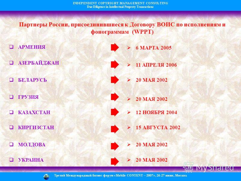 Партнеры России, присоединившиеся к Договору ВОИС по исполнениям и фонограммам (WPPT) АРМЕНИЯ 6 МАРТА 2005 АЗЕРБАЙДЖАН 11 АПРЕЛЯ 2006 БЕЛАРУСЬ 20 МАЯ 2002 ГРУЗИЯ 20 МАЯ 2002 КАЗАХСТАН 12 НОЯБРЯ 2004 КИРГИЗСТАН 15 АВГУСТА 2002 МОЛДОВА 20 МАЯ 2002 УКРА