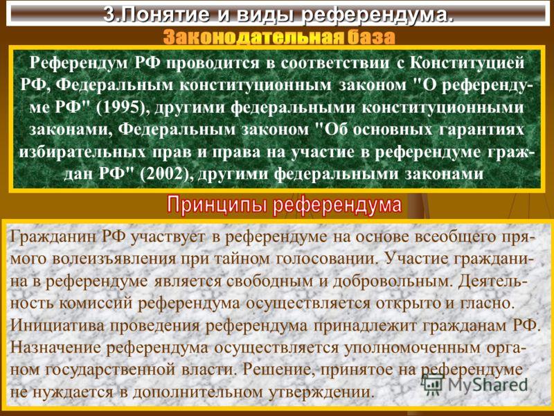 3.Понятие и виды референдума. Референдум РФ проводится в соответствии с Конституцией РФ, Федеральным конституционным законом