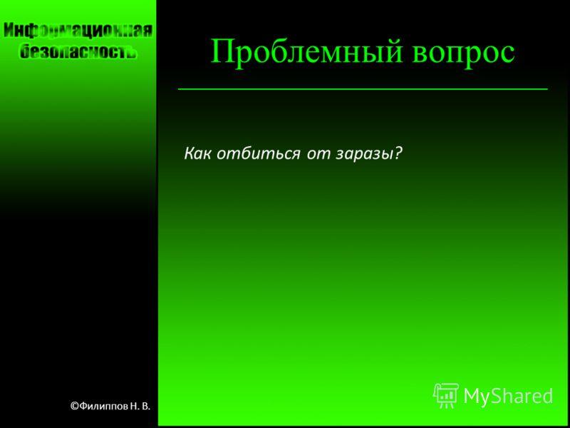 Проблемный вопрос Как отбиться от заразы? ©Филиппов Н. В.