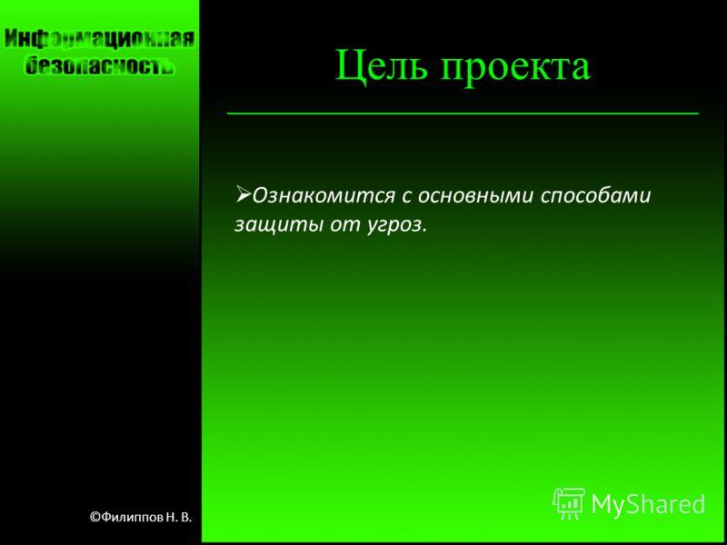 Цель проекта Ознакомится с основными способами защиты от угроз. ©Филиппов Н. В.