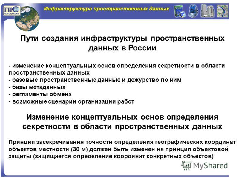 Инфраструктура пространственных данных Пути создания инфраструктуры пространственных данных в России - изменение концептуальных основ определения секретности в области пространственных данных - базовые пространственные данные и дежурство по ним - баз