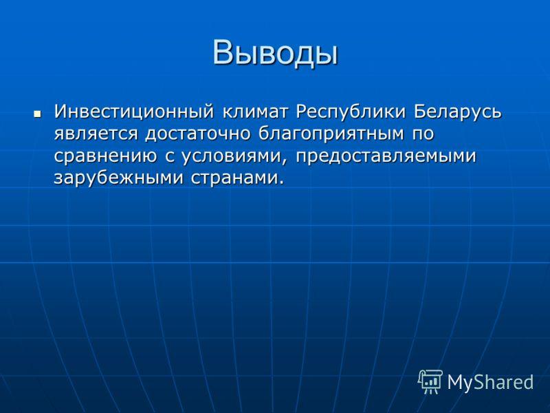 Выводы Инвестиционный климат Республики Беларусь является достаточно благоприятным по сравнению с условиями, предоставляемыми зарубежными странами. Инвестиционный климат Республики Беларусь является достаточно благоприятным по сравнению с условиями,