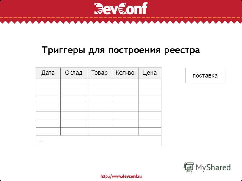 Триггеры для построения реестра ДатаСкладТоварКол-воЦена … поставка