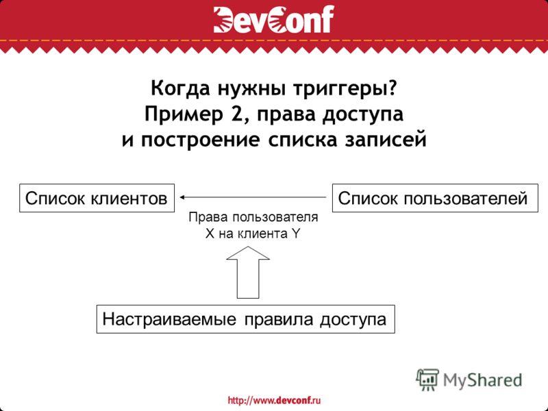 Когда нужны триггеры? Пример 2, права доступа и построение списка записей Список клиентовСписок пользователей Настраиваемые правила доступа Права пользователя X на клиента Y