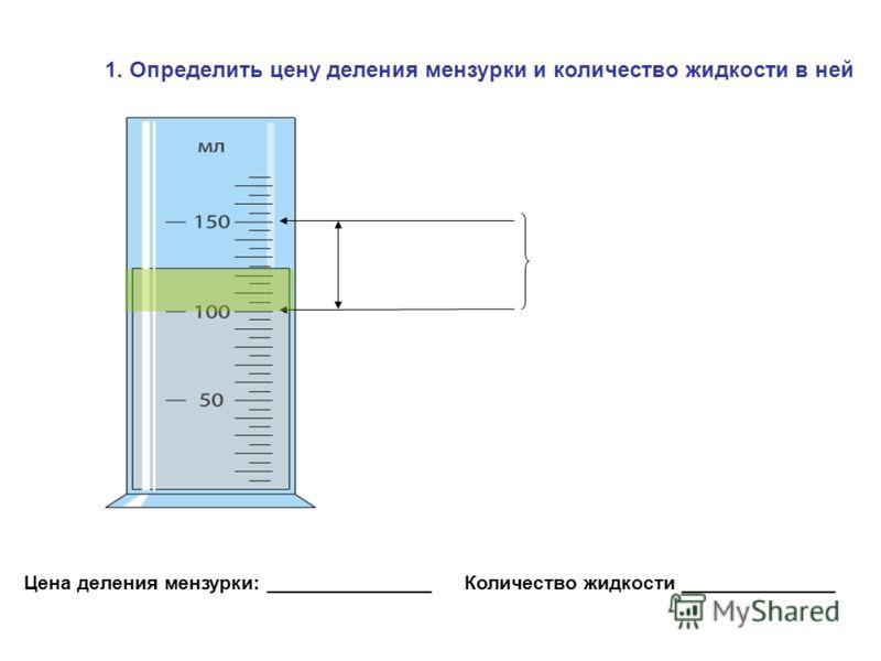 1. Определить цену деления мензурки и количество жидкости в ней Цена деления мензурки: _______________ Количество жидкости ______________