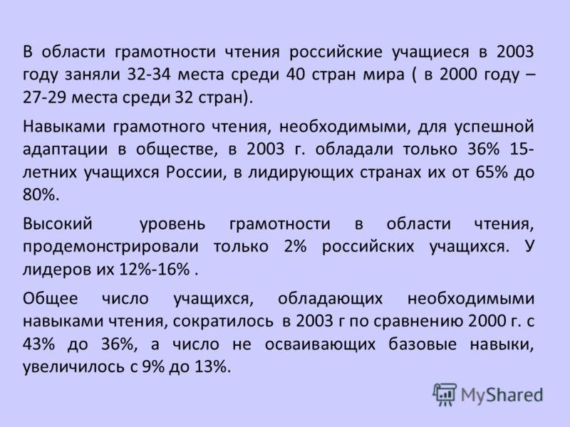 В области грамотности чтения российские учащиеся в 2003 году заняли 32-34 места среди 40 стран мира ( в 2000 году – 27-29 места среди 32 стран). Навыками грамотного чтения, необходимыми, для успешной адаптации в обществе, в 2003 г. обладали только 36